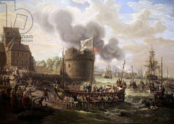 King Louis XVI visits the works of the port of Cherbourg on 23/06/1786 Painting by Louis Philippe Crepin (1772-1851) 1786 Paris, Musee du Louvre.