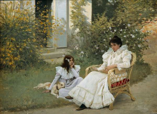 Mother and Daughter in a Breton Garden Painting by Edouard Debat Ponsan (1847-1913) 1898 Tours, Museum of Fine Arts