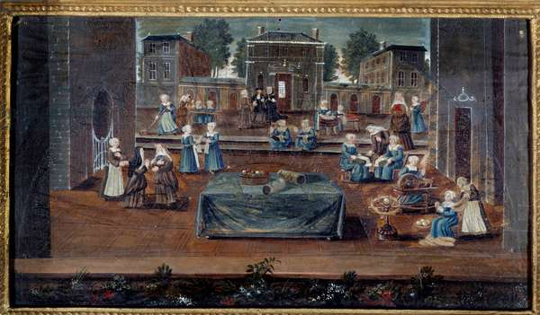 View of the house of Saint Cyr Saint-Cyr was a house of education for poor noble girls created by Francoise d'Aubigne, Marquise de Maintenon (1635-1719) and maintained by nuns. Painting of the French school. 17th century Paris, Musee Carnavalet