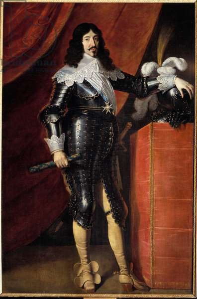 Portrait in foot of Louis XIII (1601-1643) in armor Painting of the French School of the 17th century. Musee du chateau de Chambord - Full-length portrait of Louis XIII (1601-1643) in armor. Painting by the English School of the 17th century. Museum of the caslte, Chambord, France