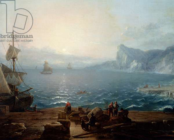 Sunset A landscape of cliffs and rocks on the sea, with fishermen in the foreground. Detail. Painting by Antoine Lebel (1705-1793) 18th century Sun. 0,9x1,16 m Rouen, musee des Beaux Arts