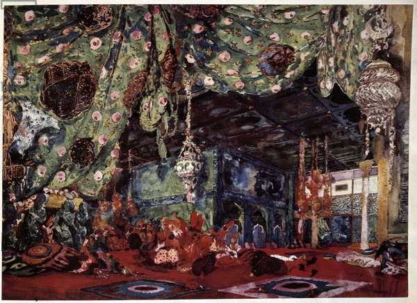 "Scenography by Leon Bakst (1866-1924), Russian painter and decorator for the opera """" Scheherazade"""" (Sheherazade) by Nicholas (Nikolai) Rimski Korsakov (Rimski-Korsakov) (1844-1908)."