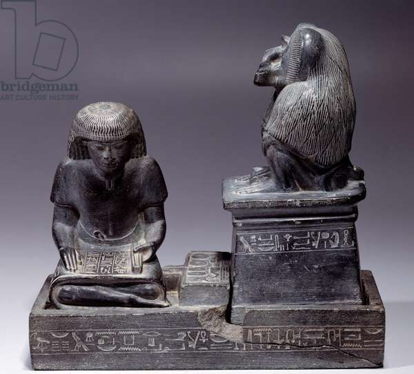 Egyptian Antiquitis: The scribe Nebmertouf and the monkey Thot, god of scripture and patron of scribes. Shale sculpture. Regne of Amenophis III (1391-1353), 1400 BC. Paris, Louvre Museum