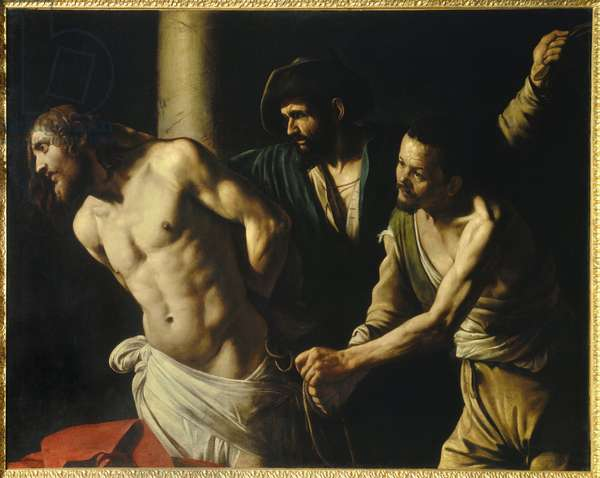 Flagellation of Christ has column Painting by Michelangelo Merisi called The Caravaggio or il Caravaggio (1571-1610) 1607 Sun. 1,34x1,75 m Rouen, Museum of Fine Arts
