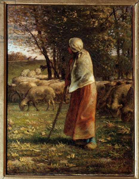 La petite bergere Painting by Jean Francois Millet (1814-1875) 19th century Sun. 0,32x0,25 m Paris, musee d'Orsay