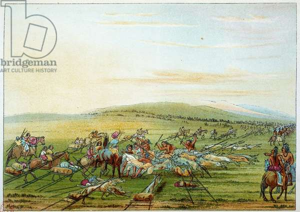 Indians of America: tribe of Indians with horses and dogs. Illustration by George Catlin (1794-1872), 19th century. Paris, B N