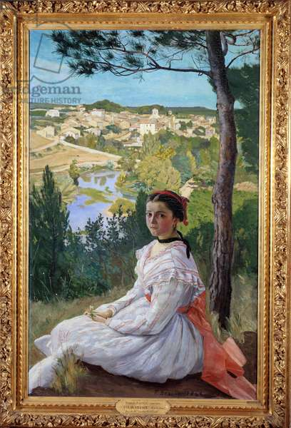 Village view Young girl posing in a landscape of Provence. Painting by Frederic Bazille (1841-1870) 1868 Sun. 1,3x0,89 m Montpellier, Musee Fabre