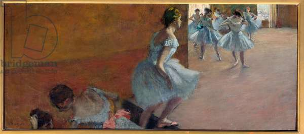 Dancers climbing the stairs Painting by Edgar Degas (1834-1917), 1888 Sun. 0,39x0,89 m Paris, musee d'Orsay