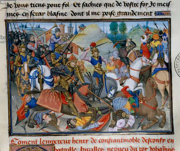 """The Emperor of Constantinople Henry I of Flanders Hainaut (1177-1216) during a battle. Miniature from """""""" Chronicle abregee"""""""" by David Aubert, 15th century Paris, Bibliotheque de l'Arsenal"""