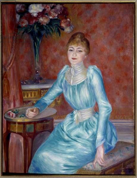 Portrait of Madame de Bonnieres. Henriette de Bonnieres (1854-1906), wife of the novelist and critic of the Figaro Robert de Bonnieres (1850-1905). Painting by Pierre Auguste Renoir (1841-1919) 1889 Sun. 1,17x0,89 m Paris, Musee du Petro Palais