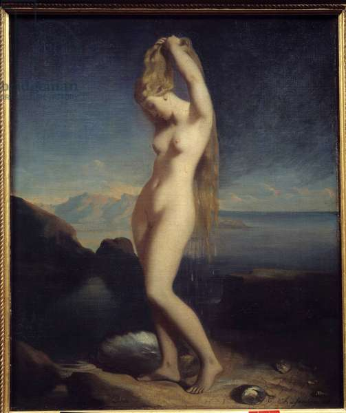 Venus anadyomene or Venus Marine Painting by Theodore Chasseriau (1819-1856) 1838 Sun. 0,65 x 0,55 m