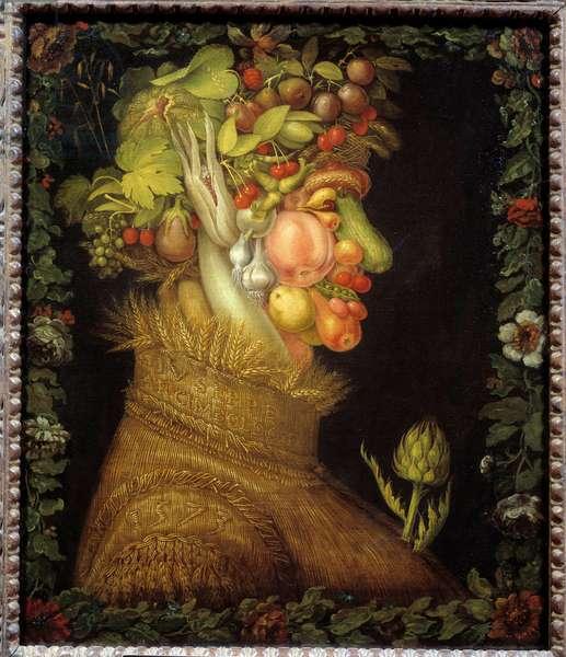 L'ete Painting by Giuseppe Arcimboldo (1527-1593) 1573 Dim. 0,76x0,63 m  - Summer - Painting by Giuseppe Arcimboldo (1527-1593), oil on canvas (76 x 63 cm), 1573 -