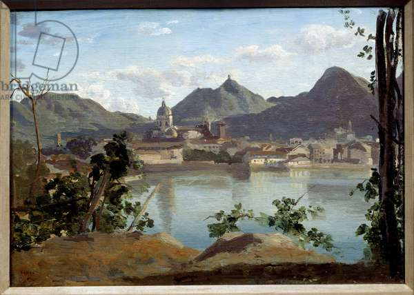 View of Lake and City of Come Painting by Camille Corot (1796-1875) 1834 Private Collection