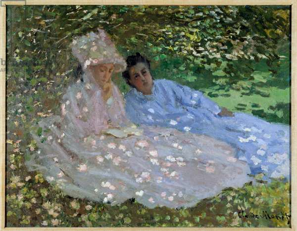Mrs. Monet and a friend in the garden. Two women sitting in the shade of a tree. Painting by Claude Monet (1840-1926), 1872. Oil on canvas. Dim: 51,5 x 66 cm. Private collection.