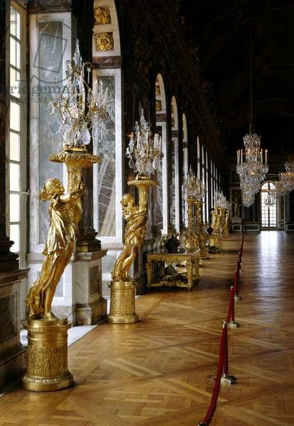 Architecture: view of the restored Ice Gallery. Versailles. Musee du Chateau