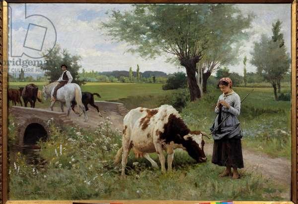 La coache bien gardee Painting by Edouard Debat Ponsan (1847-1913) 1890 Sun. 0,82x1,28 m Pau, Musee des Beaux Arts