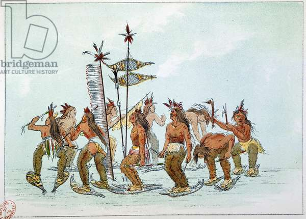 Indians of America: Dance of the snow shoe in the Chippeway tribe. Illustration by George Catlin (1794-1872), 19th century. Paris, B N