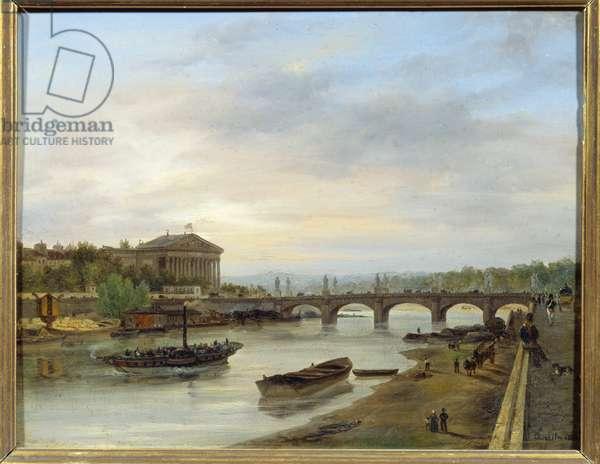 The Palais Bourbon and the Pont Louis XVI (Pont de la Concorde) seen from the Quai des Tuileries in Paris. Painting by Giuseppe Canella (1788-1847) EC.ITAL., 1826. Oil on cardboard. Dim: 0,17 x 0,23m. Paris, Musee Carnavalet