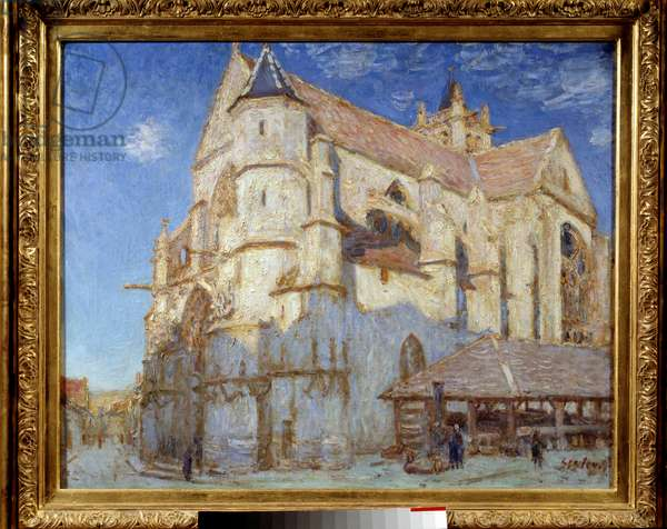 The church of Moret (Moret-sur-Loing or Moret sur Loing). Painting by Alfred Sisley (1839 - 1899), 1893. Oil on canvas. Dim: 0.66 x 0.82m. Rouen, Museum of Fine Arts