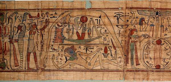 Egyptian antiquite allegory of the cosmos: mythological papyrus of Neskapashouty, accounting scribe of grains representing cosmogony, with Geb, Nout, Nephtys, Osiris. 1070-664 BC. 21st dynasty. Sun 2,7x0,27 m Paris, musee du Louvre