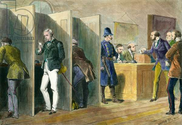 English democracy: Inside a polling station during elections in England with representation of the voting booths. Engraving of the 19th century. Coll. Out.