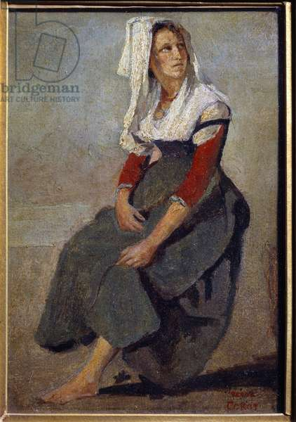 Portrait of the Italian Maria de Sorre, sitting with the head up Painting on cardboard by Camille Corot (1796-1875) 1828 Sun. 0,26x0,18 m Paris, Musee Picasso