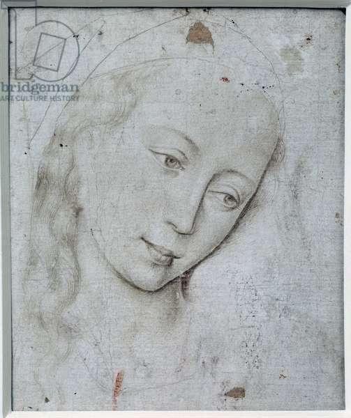 Virgin's head. Drawing by Rogier (Roger) Van Der Weyden (1400-1464) Ec. Flam., 15th century. Dim: 0.12 X 0.11m. Paris, Musee Du Louvre