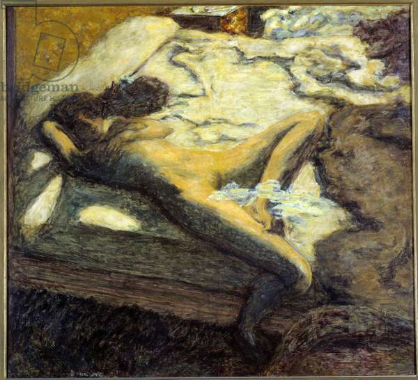 The indolent naked young woman lying on a bed. Painting by Pierre Bonnard (1867-1947) 1899 Sun. 0,96x1,06 m Paris, musee d'Orsay