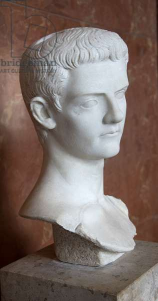 Art Rome Bust of the Emperor Caligula (12 - 41 AD) marble Musee du Louvre.