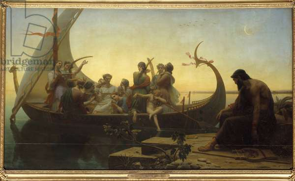 Lost illusions or evening An allegorical scene depicting characters on a departing drakkar, a man stays at the dock with a lyre. Painting by Charles Gleyre (1806-1874) 19th century Sun. 1,56x2,38 m Paris, Musee du Louvre