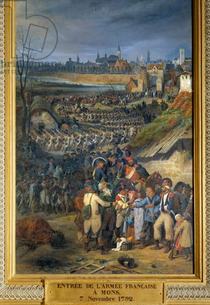 """Revolutionary Wars: """""""" Entry of the French army commanded by General Dumouriez to Mons, the day after the Battle of Jemmapes, November 7, 1792."""" Painting by Joseph-Louis-Hippolyte Bellange (1800-1866). 1835. Dim. 1,88x0,83 m."""