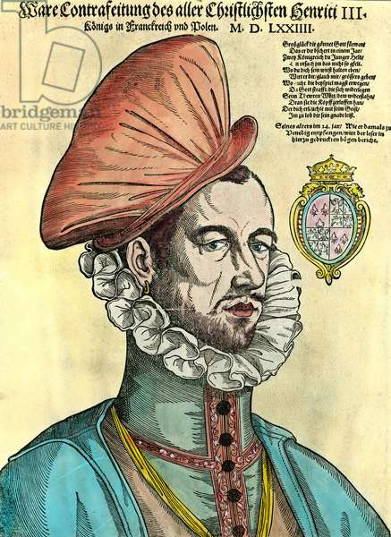 Portrait of the King of France Henry III (1551 - 1589). 16th century engraving.