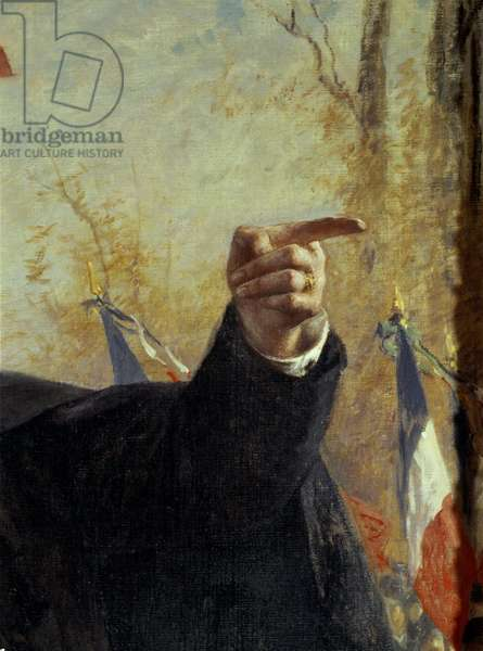 Hand. Detail of the portrait of Paul Deroulede (1846-1914), French nationalist militant, pointing his finger). Painting by Fernand Cormon (1845-1924), 1913.