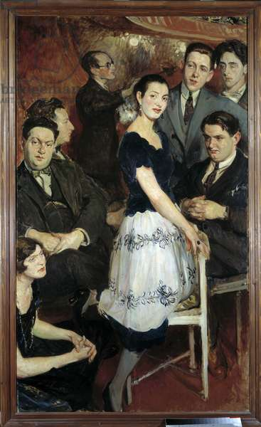 Le Groupe des Six, 1922, painting by Jacques Emile (Jacques-Emile) Blanche (1861-1942). In the centre, pianist Marcelle Meyer; from bottom to top: Germaine Tailleferre, Darius Milhaud, Arthur Honegger, Louis Durey; on the right: Georges Auric, Francis Poulenc, Jean Cocteau. Rouen, Museum of Fine Arts.
