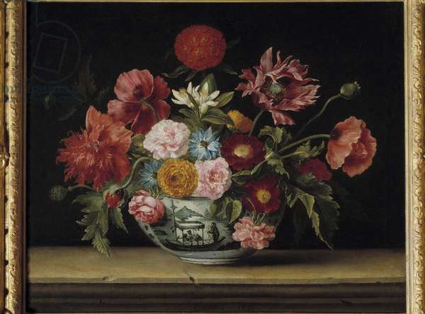 Bouquet of flowers in a Chinese cup Painting of jeacques Linard (1600-1645) 1640 Dim. 0.53 x 0.66 m. Madrid. Musee Thyssen Bornemisza
