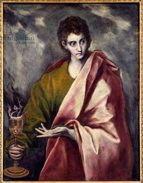 Saint John the Evangelist Painting by Domenikos Theotokopoulos dit El Greco (1541-1614) 17th century Sun. 0,9x0,77 m Madrid, Musee du Prado - Saint John the Evangelist. Painting by Domenikos Theotokopoulos known as El Greco (1541-1614), 17th century. 0.9 x 0.77 m. Prado Museum, Madrid