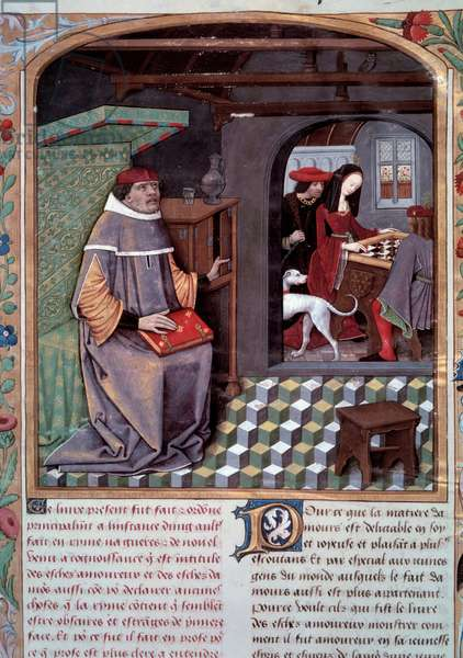 "Les Chess amoureux, composed in prose by Evrart de Conty (1330? -1405), manuscript enluminated by the material of Antoine Rollin: frontispiece representing the author and """" Marguerite d'Angouleme, Duchess of Alencon (1492-1549) and his brother Francois d'Angouleme (future Francois I) (1494-1547) playing chess"""", circa 1400, Cote: FR1. 6808 R, B.N. Paris"