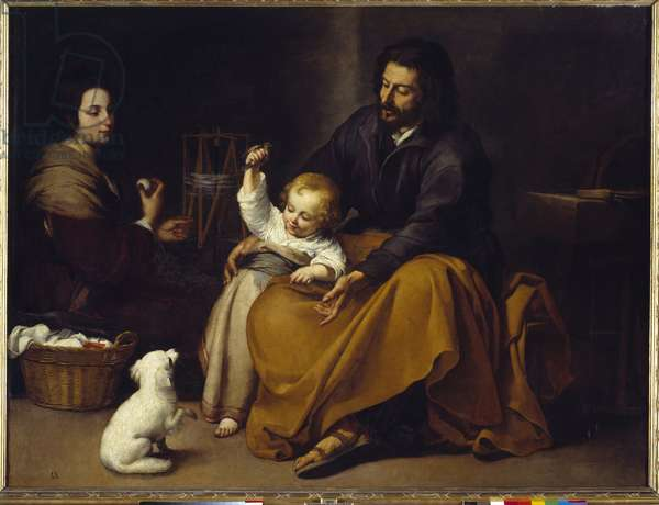 The Holy Family Painting by Bartolome Murillo (1618-1682), 1650 Sun. 1,44x1,88 m Madrid, Prado Museum