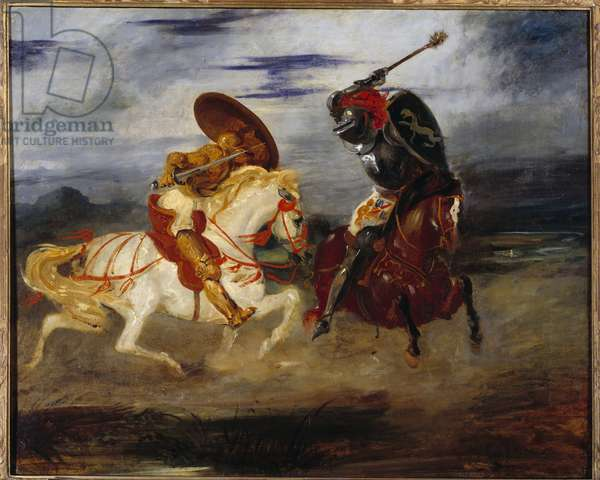 Knights fight in the countryside. Painting by Eugene Delacroix (1798-1863), 19th century. Oil on canvas. Dim: 0,81 x 1,00m. Paris, Musee Du Louvre