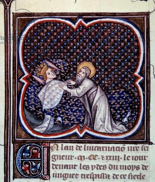 "Saint Valery appearing to King Hugues Capet (941-996) Miniature from """" Les grandes chronicles de France"""" by Jean Fouquet (1420-1481) 15th century Paris, B.N."