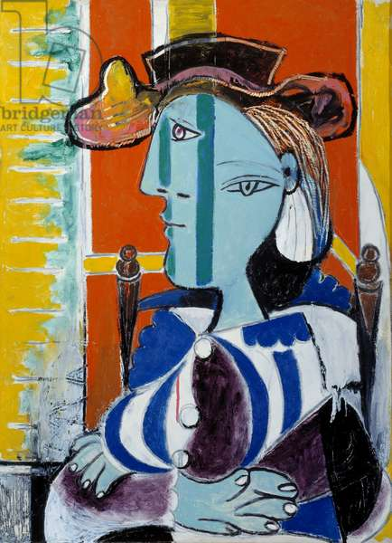 Woman sitting with crossed arms. Oil on canvas. Dim: 0.81 x 0.60m. Painting by Pablo Picasso (1881-1973), 1937. Paris, Musee Picasso.