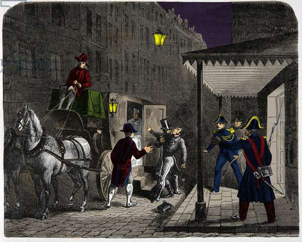 Assassination of the Duke of Berry (Charles Ferdinand d'Artois, 1778-1820) by Louis Louvel (1783-1820) on the night of 13 to 14 February 1820, Engraving, Private Collection