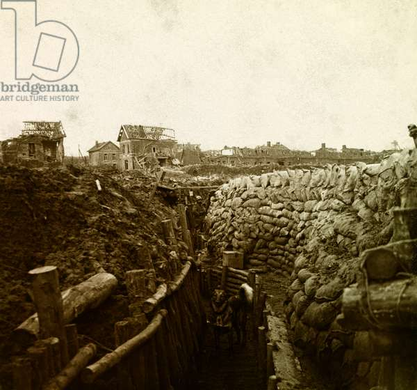 Stereoscopic glass plate on the First World War (1st, Iere, 14-18 or 1914-1918) (The First World War; WWI): La tranchee Ruault à Aubigny en Artois, Collection Particulier