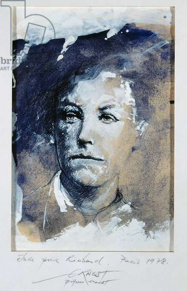 Portrait of Arthur Rimbaud (1854-1891), French poet. Drawing by Ernest Pignon Ernest (born 1942), 20th century. Charleville, Musee Rimbaud.