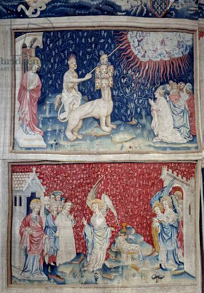 Hanging of Revelation (1373-1383), n. 44: the Bete of the earth causes fire to fall from heaven. Below, n. 51, the third angel and the lamb. Tapestry by Nicolas Bataille (1330-1405), 14th century. Angers, Musee De La Tapestry