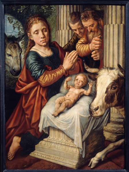 The Adoration of the Shepherds Painting by Pieter Aersten (1508-1570) (ec.holl.) 16th century Sun. 0,87x0,63 m Rouen, Musee des Beaux Arts