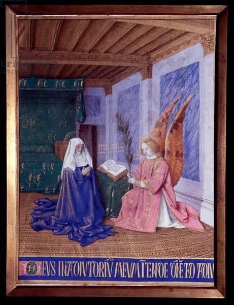 """The Hours of the Virgin: The Second Annunciation Miniature in """"The Hours of Etienne Chevalier"""" by Jean Fouquet (1420-1481), 1445. Chantilly, Musee Conde"""