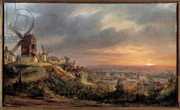 Paris seen from Montmartre. Painting by Louis Jacques Mande Daguerre (1787 - 1851), 1830. h s/t 0,23 x 0,37m. Paris, Musee Carnavalet