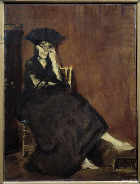 Portrait of the painter Berthe Morisot (1861-1895) a l'evententel Painting by Edouard Manet (1832-1883) 1872 Sun. 0,6x0,45 m Paris, musee d'Orsay