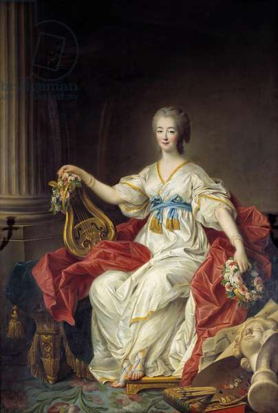 Portrait of the Countess Jeanne (Becu) du Barry, (Madame Du Barry) (1743-1793) courtesan and mistress of Louis XV Painting by Francois Hubert Drouais (1727-1775), 18th century Versailles. Chamber of Commerce - Portrait of Countess Jeanne (Becu) du Barry (Madame du Barry) (1743-1793), courtesan and mistress of Louis XV. Painting by Francois Hubert Drouais (1727-1775), 18th century. Chamber of Commerce area, Versailles, France